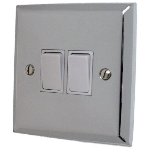 G&H SC2W Spectrum Plate Polished Chrome 2 Gang 1 or 2 Way Rocker Light Switch
